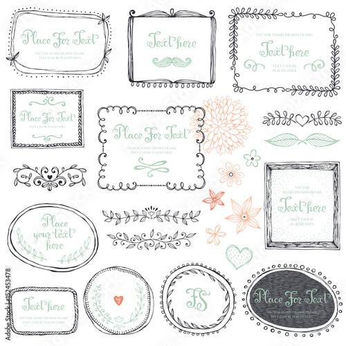Hand drawn frames, flowers, floral dividers and design elements. Vector illustration. - 152453478