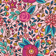 Seamless floral pattern. Vector illustration with bright flowers. - 152458067