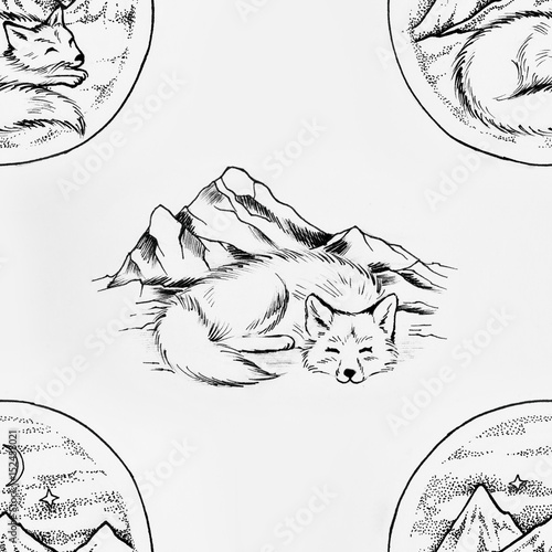 Seamless pattern of sleeping in the mountains of a fox on a white background. - 152458021