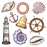 Nautical illustrations set.