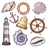 Nautical illustrations set.