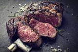Barbecue aged Wagyu Rib Eye Steak as close-up on slate - Vintage