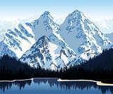 Fototapety Vector illustration - lake in mountains