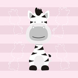 cute little zebra horse cartoon kids t shirt design