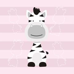 cute little zebra horse cartoon kids t shirt design