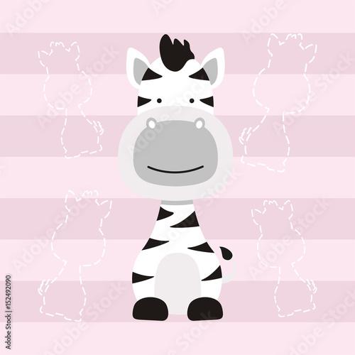 Fototapeta cute little zebra horse cartoon kids t shirt design