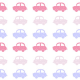 Seamless background from funny cars. Gentle tones. Vector illustration of cars pink and lilac shades.