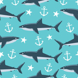 Shark seamless pattern. Can be used for wallpaper, t-shirt pattern, web page background, print, wrapping and much more!