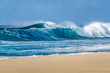 Breaking Ocean waves on the Beach on the north shore of Oahu Hawaii