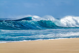 Breaking Ocean waves on the Beach on the north shore of Oahu Hawaii - 152522601