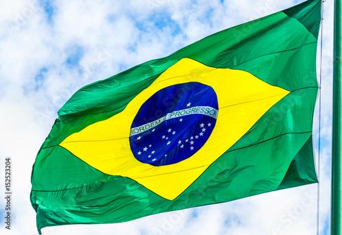 Plakat Bandeira do Brasil no mastro.