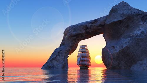 The Sailing ship against a dawn 3D illustration