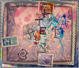 Murals with collage,old stamps,scraps,patchwork and graffiti