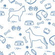 Seamless pattern with great dane and chihuahua, silhouette, comb, collar, leash, bone, bowl for food, dog tracks.