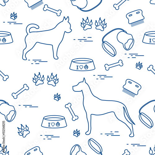 Obraz Seamless pattern with great dane and chihuahua, silhouette, comb, collar, leash, bone, bowl for food, dog tracks.