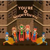 sepia color background buildings brick facade with colorful set superhero posing vector illustration - 152578878