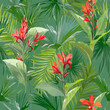 Tropical Palm Leaves and Flowers, Jungle Leaves Seamless Vector Floral Pattern Background - 152582861