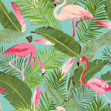 Tropical Seamless Vector Flamingo and Floral Summer Pattern. For Wallpapers, Backgrounds, Textures, Textile, Cards. - 152582813