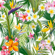 Tropical Palm Leaves and Flowers, Jungle Leaves Seamless Vector Floral Pattern Background - 152583054