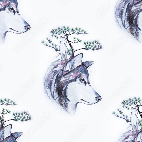 Seamless pattern of a beautiful wolf head on a white background. - 152585858