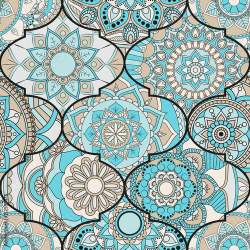 Fototapeta Patchwork pattern. Vintage decorative elements. Hand drawn background. Islam, Arabic, Indian, ottoman motifs. Perfect for printing on fabric or paper.