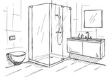 Fototapety Hand drawn sketch. Linear sketch of an interior. Part of the bathroom. Vector illustration
