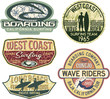 West Coast California surfing vector badges collection