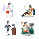 Coffee Break at Work. Businessman Relaxing in Office. Vector cartoon illustration