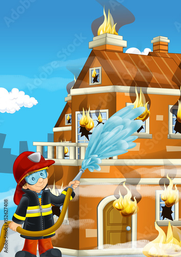 cartoon stage with fireman near burning building colorful scene - illustration for children - 152627408