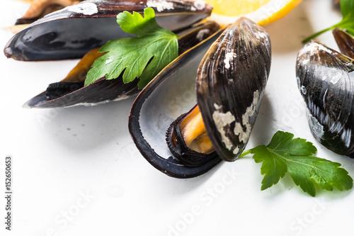 Fototapeta Boiled mussels close up