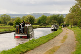 Narrowboats on the Shropshire Union canal in England UK - 152655485