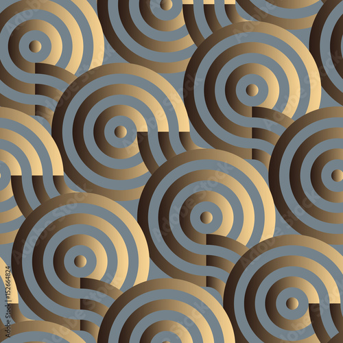 geometric targets seamless pattern in gold shades