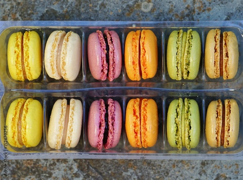 Box of colorful macaron cookies Poster