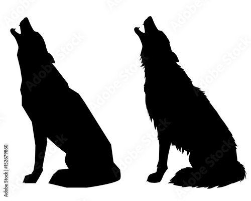 Fototapeta Silhouettes howl a wolf or a dog. Isolated objects, vector illustration