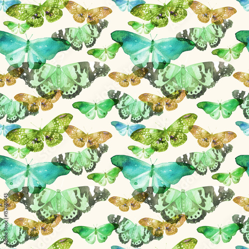Watercolor pattern with the image of transparent butterflies in blue, green and ocherous colors on a beige background - 152680643