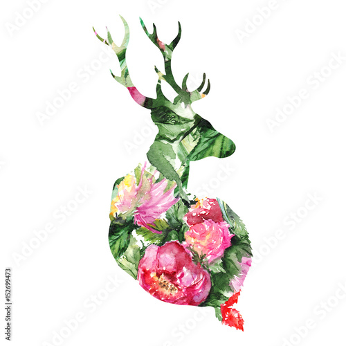 Silhouette deer animal floral flower background isolated - 152699473