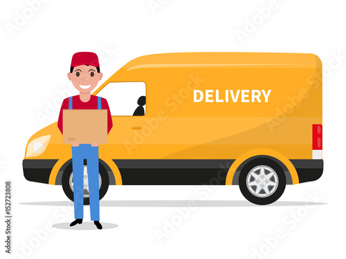 Vector illustration cartoon delivery man with carton box and a car. Isolated white background. Flat style. The concept of a business delivery service.