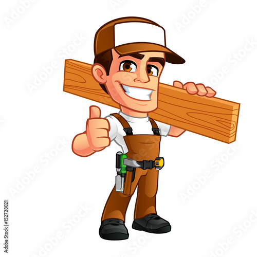 Friendly carpenter, he is dressed in work clothes - 152728021