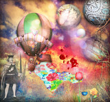 Psychedelic landscape with hot air balloons and king of sword