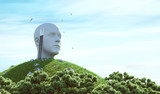 Testa di uomo con porta aperta, immaginazione e pensieri - 152736812