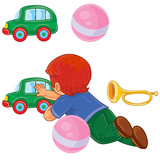 Vector clip art illustration of a little boy lies on his stomach and rolls a car. Print, template, design element