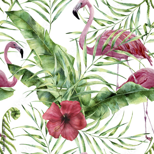 Watercolor floral pattern with exotic flowers, leaves and flamingo. Hand painted ornament  with tropical plant: hibiscus, palm leaves and branches isolated on white background. For design or fabric - 152777250