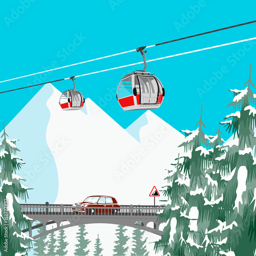 Fotobehang Turkoois Ski resort in mountains with cable cars, bridge and coniferous trees