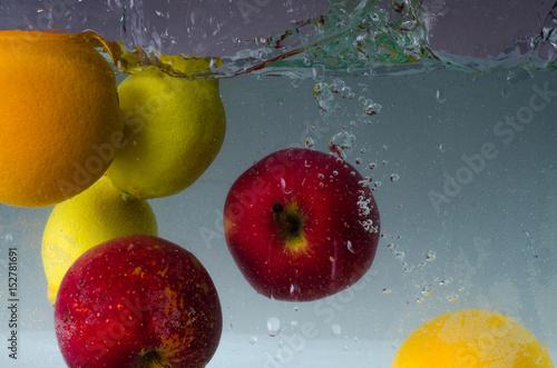 Fruit falling into water