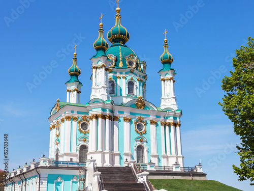 Foto op Plexiglas Kiev view of Saint Andrew's Church in Kiev city