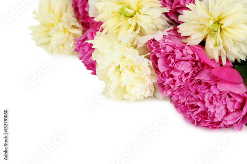 Bouquet of peony flowers isolated on a white