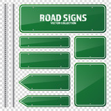 Road green traffic sign. Blank board with place for text.Mockup. Isolated information sign. Direction. Vector illustration. - 152795864