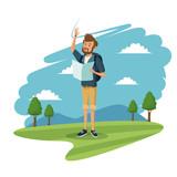 young guy traveler tourist mountain landscape vector illustration