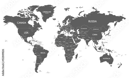Fototapeta Political World Map vector illustration isolated on white background. Editable and clearly labeled layers.