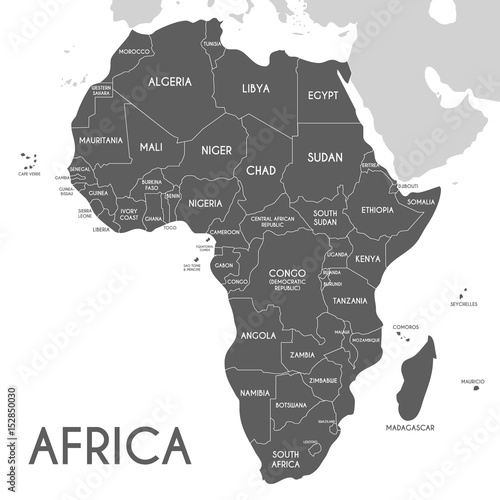 Political Africa Map vector illustration isolated on white background. Editable and clearly labeled layers.